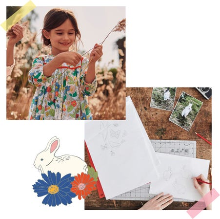 The floral print on a girl's dress and line drawings of rabbits