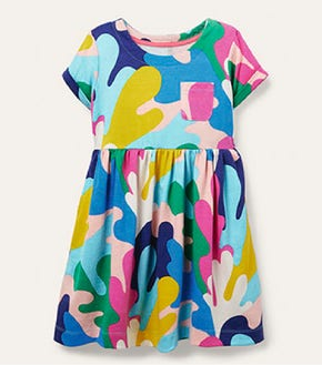 Fun Jersey Dress - Multi Coral Camo