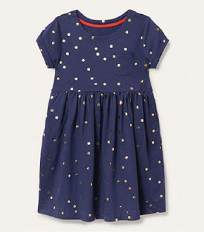 Fun Jersey Dress - Starboard Blue Gold Spot