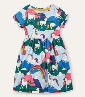 Fun Jersey Dress - Multi Unicorn Mountain