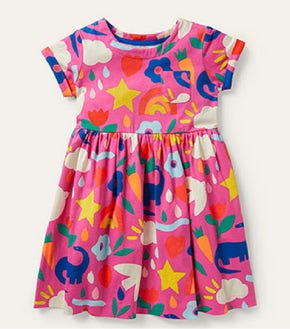 Fun Jersey Dress - Tickled Pink Happy Dino