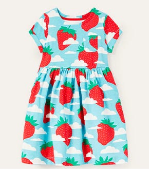 Fun Jersey Dress - Aqua Blue Strawberry Sky