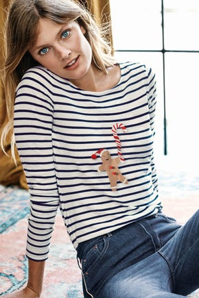 Be Gingerb-ready for fun in a Breton with Gingerbread man detail from our Festivewear edit