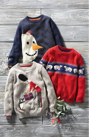 Festivewear for Boys.  School Navy Snowman jumper,  Grey Marl Soldier and Postbox Red Polar Bears Fair Isle Crew Jumper just some of the options available.