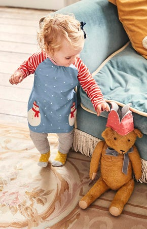 Festivewear for Baby, including the Boathouse Blue Snowmen dress to add that touch of Christmas.