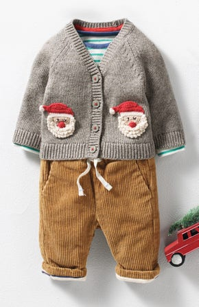 Festivewear for Baby. Grey Marl Father Christmas cardigan with hand-stitched Father Christmas crochets and bobble details, and colourful cord trousers.