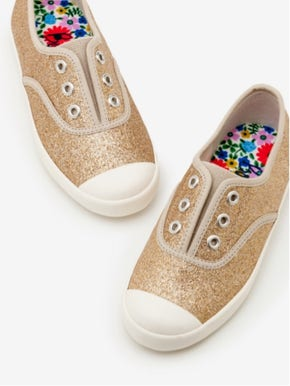 Gold Glitter Laceless Canvas Shoes